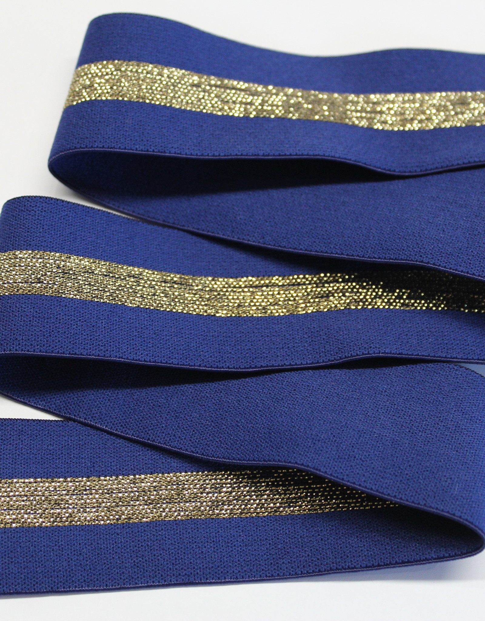 Elastiek blauw met gouden middenlijn 35mm