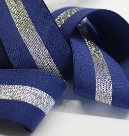 Elastiek blauw met zilveren middenlijn 35mm
