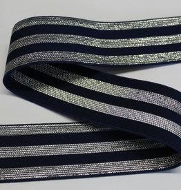 Elastiek navy met  3 zilveren lijnen 40mm
