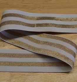 Elastiek wit met  3 gouden lijnen 40mm