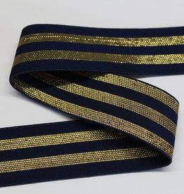 Elastiek navy met  3 gouden lijnen 40mm