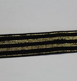 Elastisch lint 20mm zwart met gouden lijnen