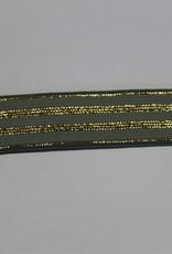 Elastisch lint 20mm oudgroen met gouden lijnen