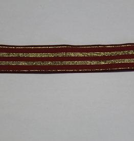 Elastisch lint 20mm roest met gouden lijnen