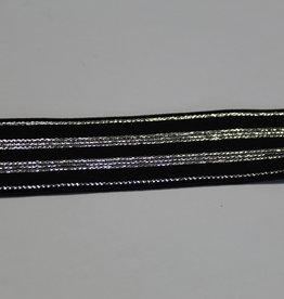 Elastisch lint 20mm zwart met zilveren lijnen