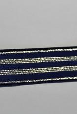 Elastisch lint 20mm marine met zilveren lijnen