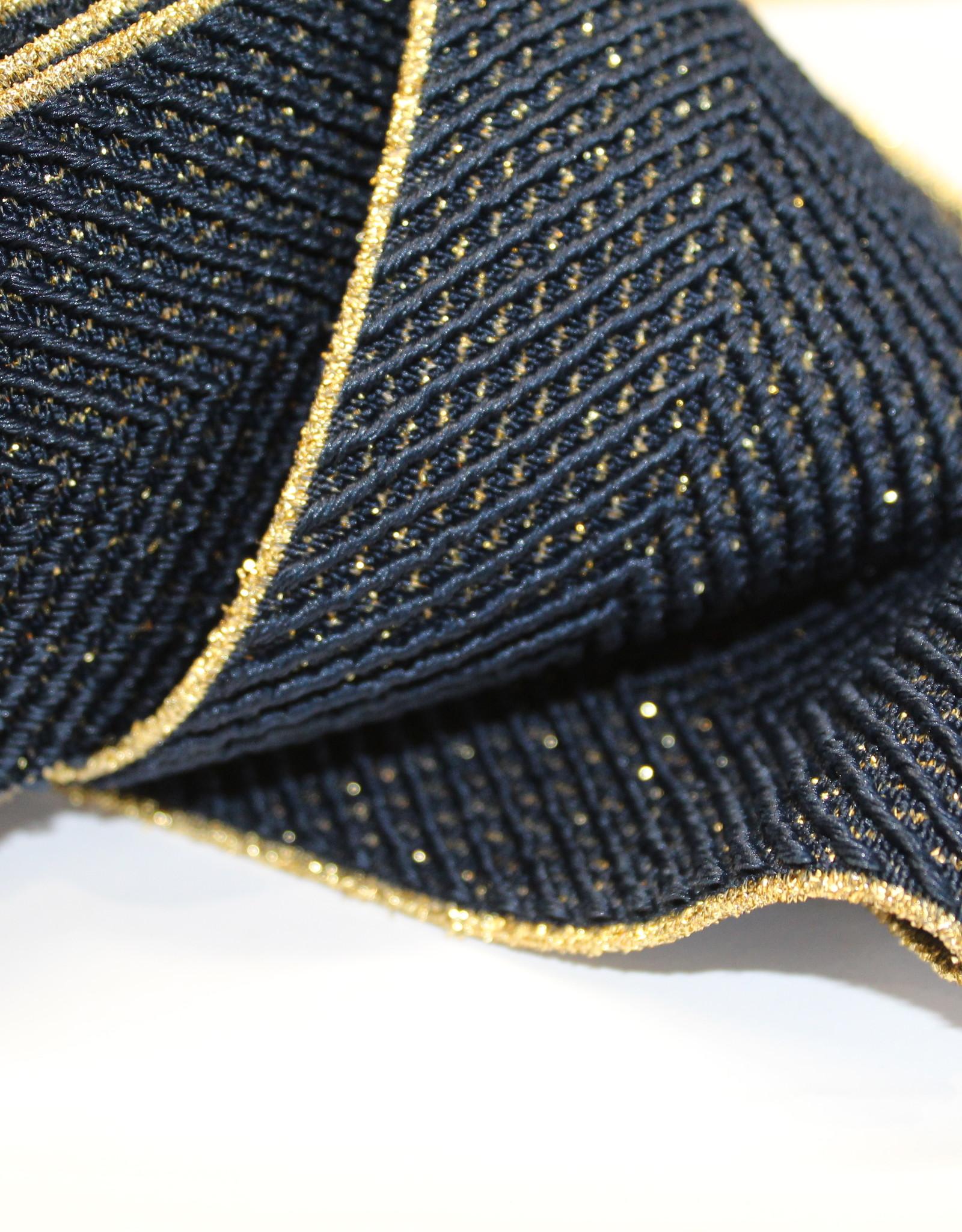 Elastiek navy/goud met reliëf Vmotief 60mm