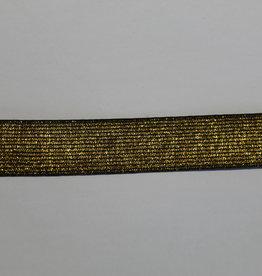 Elastiek zwart met gouden glitters 25mm