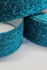 Elastiek turquoise glitters 40mm