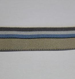 Elastisch biaislint 20mm beige met blauw/wit/antraciet strepen