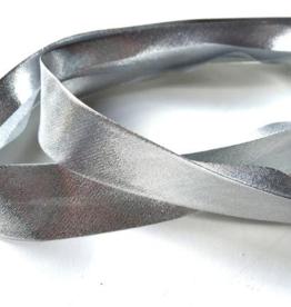 Biais lame 20mm op rol zilver
