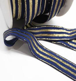 Elastisch lint 20mm navy met gouden lijnen