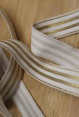 Elastisch lint 20mm wit met gouden lijnen
