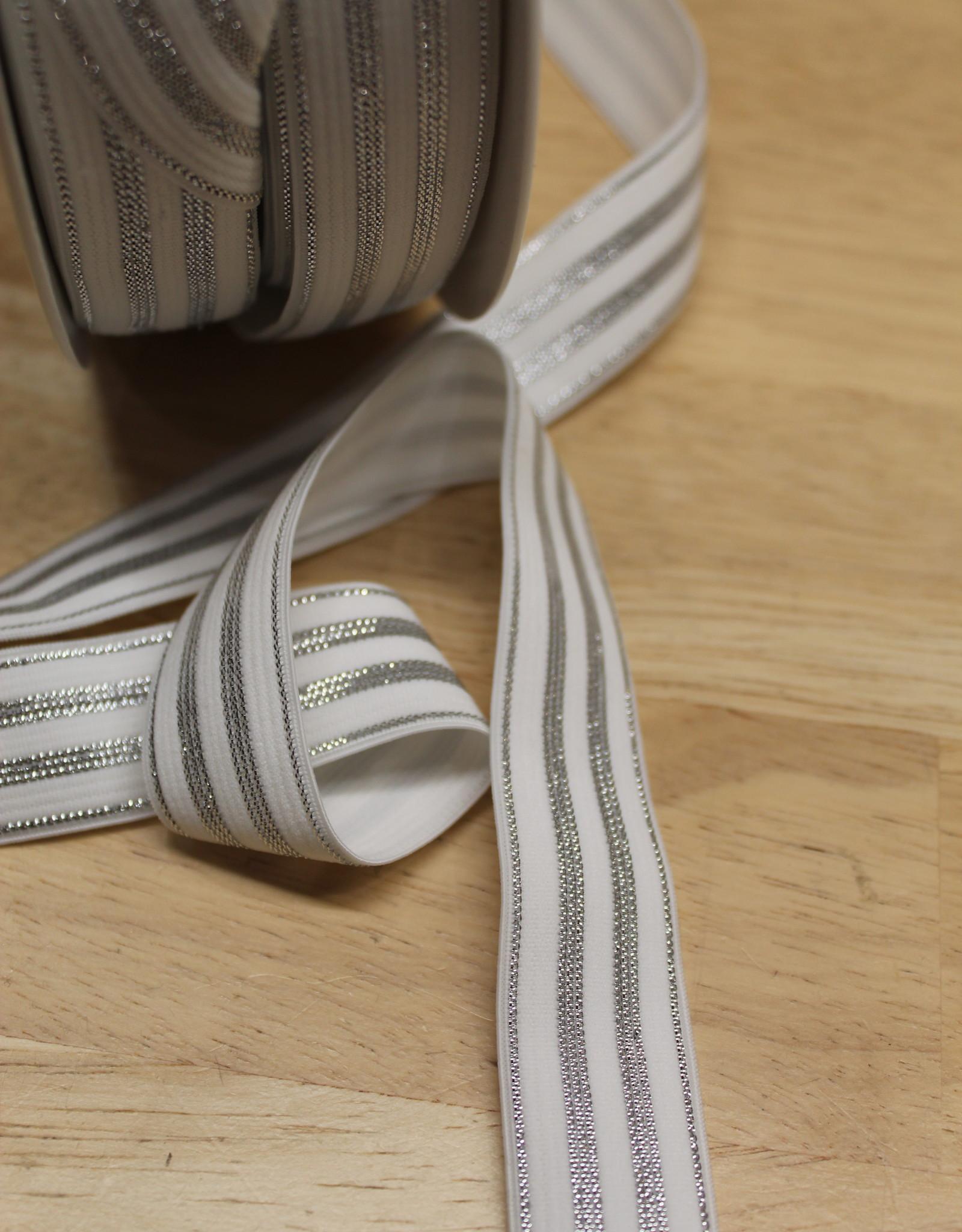 Elastisch lint 20mm wit met zilveren lijnen