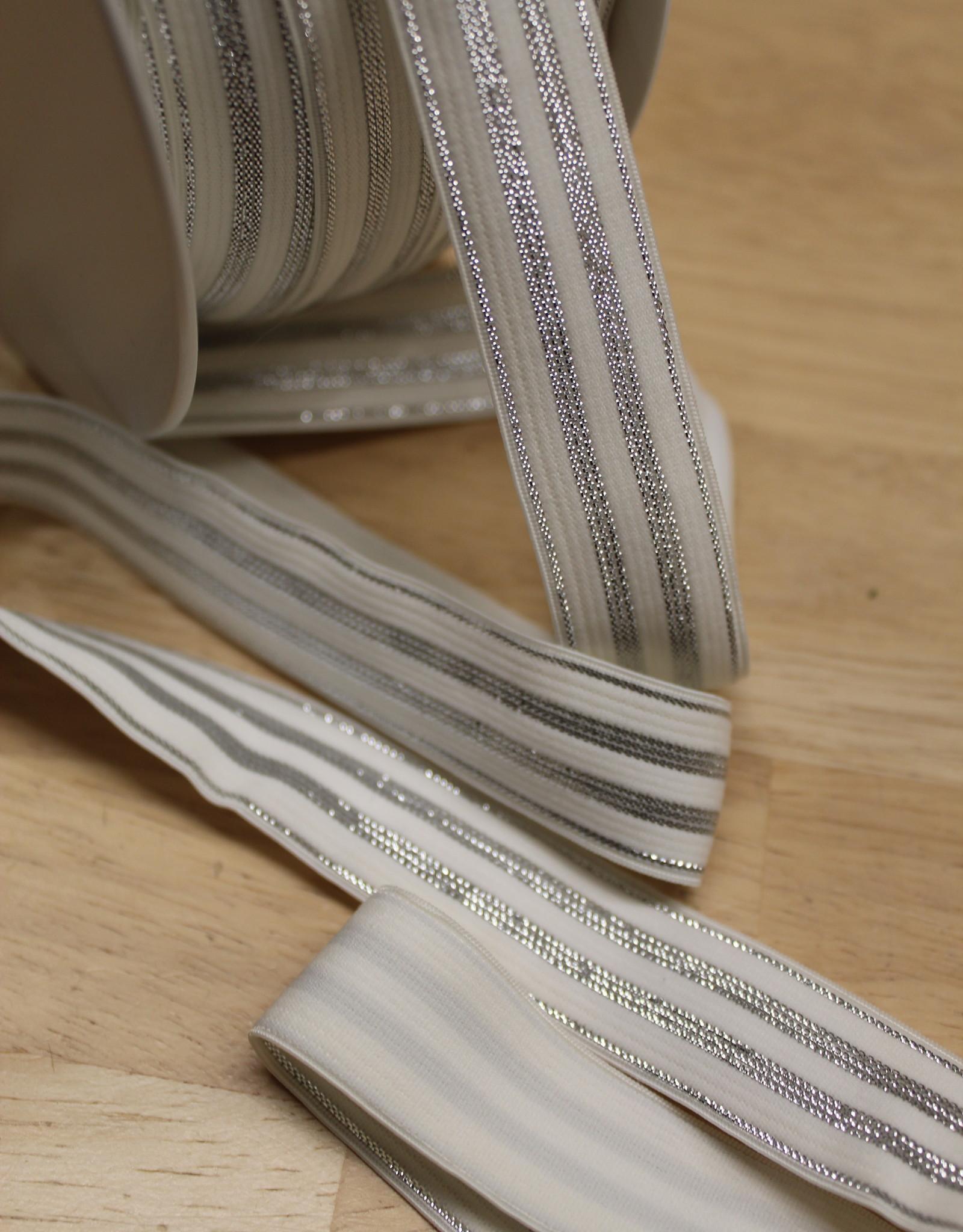 Elastisch lint 20mm gebroken wit met zilveren lijnen