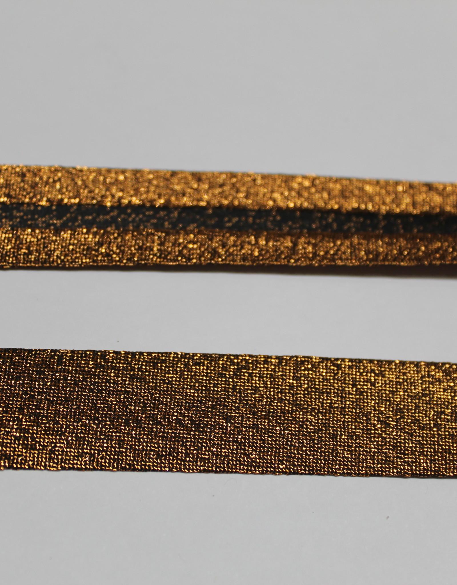 Biais metallic glitter 18mm op rol brons