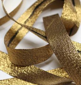 Biais metallic glitter 18mm op rol antiek goud
