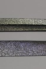 Biais metallic glitter 18mm op rol zwart zilver