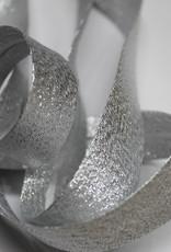 Biais metallic glitter 18mm op rol zilver