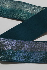 Union Knopf Elastiek petrol blauw tweekleurige glitters 40mm