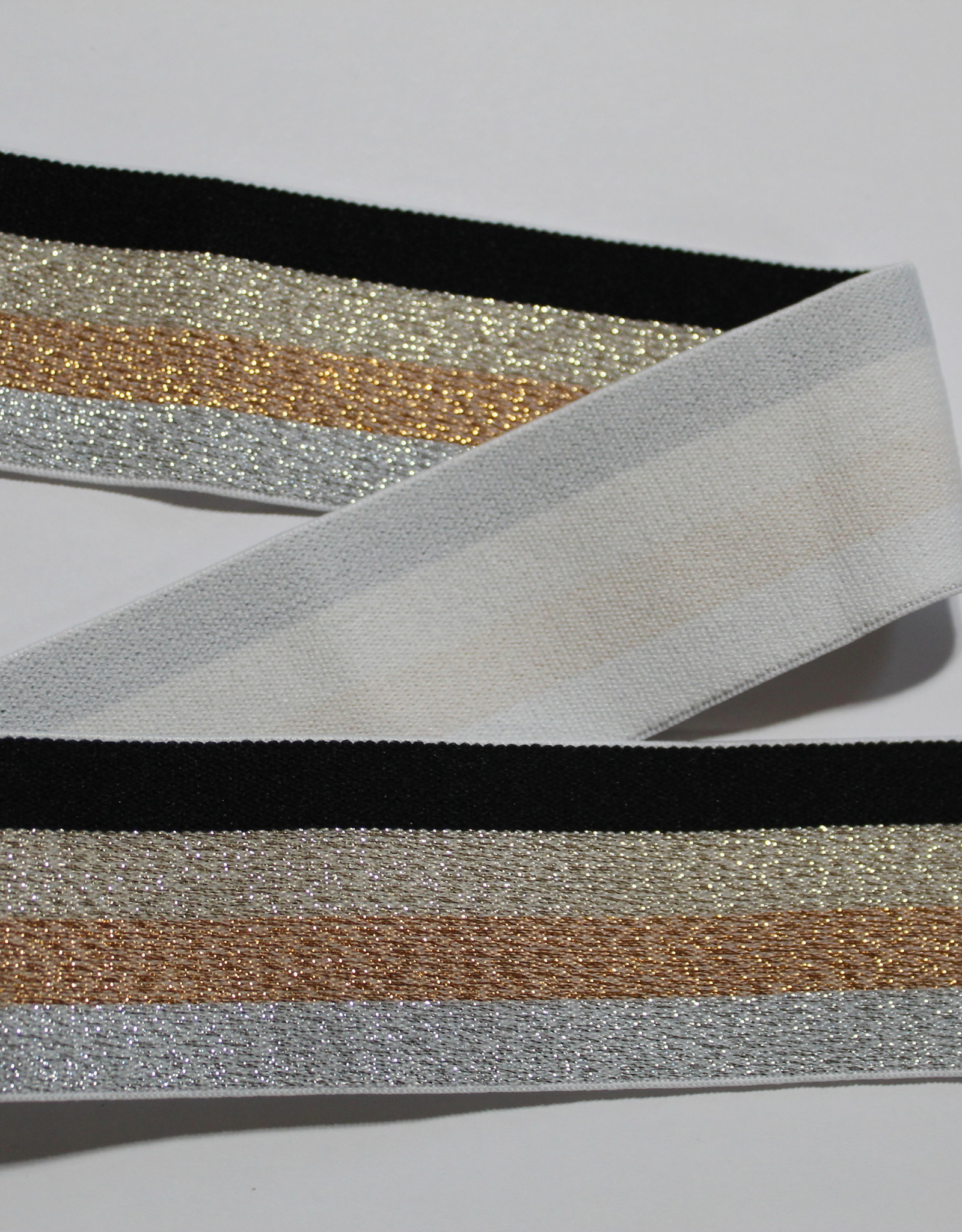 Union Knopf Elastiek zwart goud zilver gestreept glitters 40mm