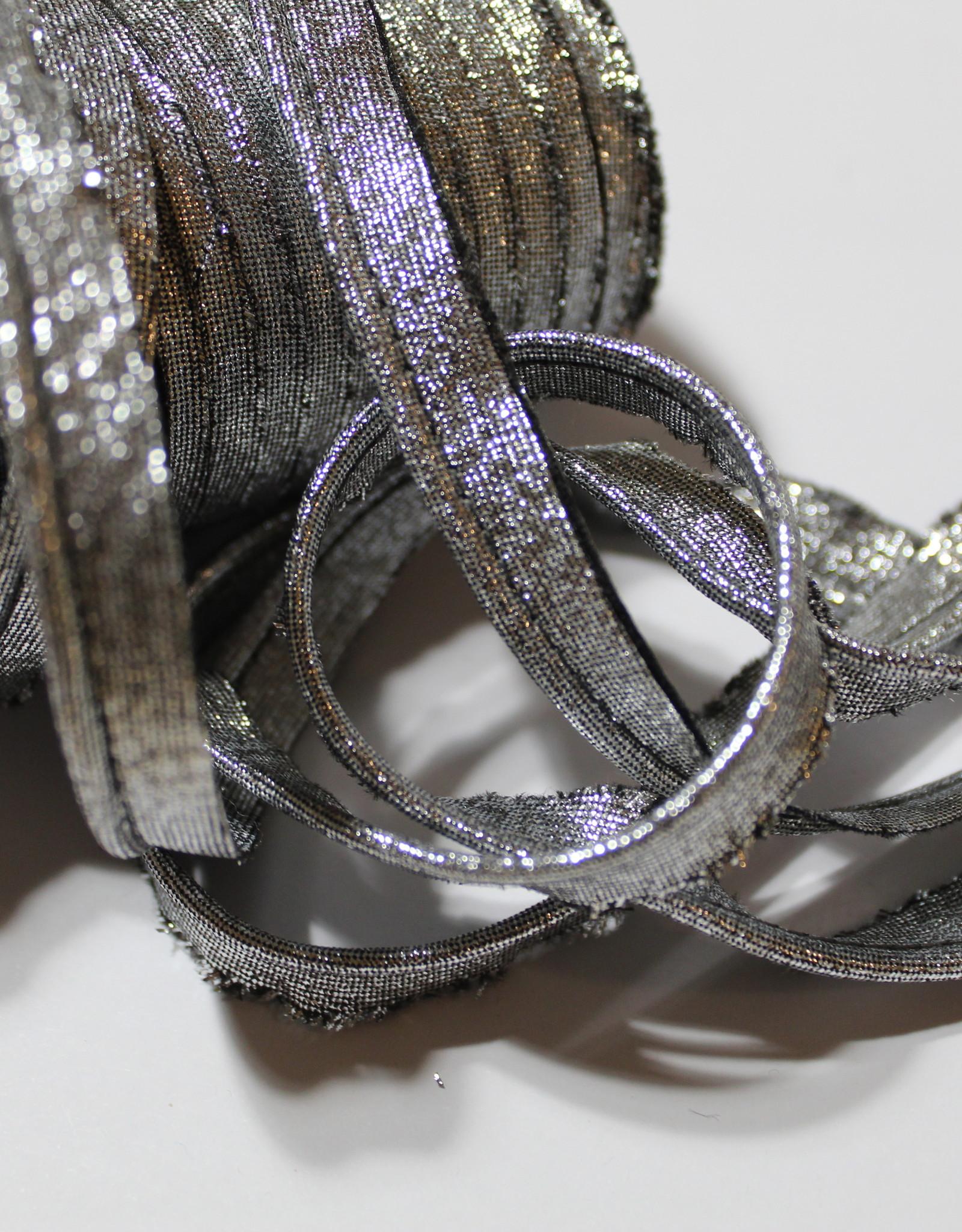 Paspel glitter zwart zilver