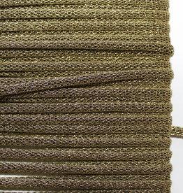 Koord gevlochten glitter lurex antiekgoud 4mm