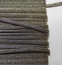 Koord gevlochten glitter lurex donkerzilver 4mm