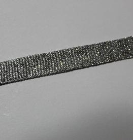 Platte veter lurex wit/zilver 15mm