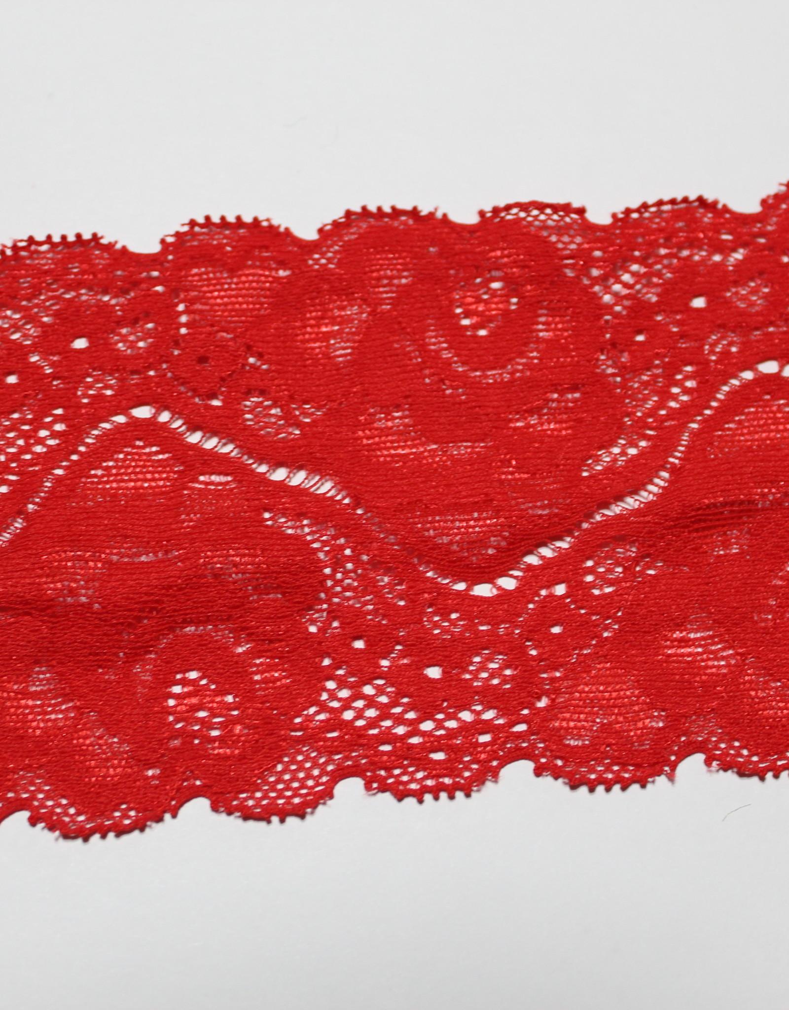 Elastisch kant gebloemd rood 80mm