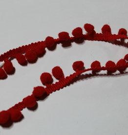 Pompon band smal 15mm rood col.550