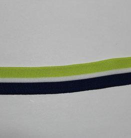 Fijn gebreid lint 25mm gestreept lime/wit/blauw
