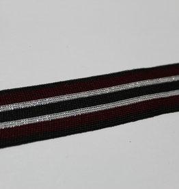 Gebreid lint 30mm zwart-bordeau-zilver glitter gestreept