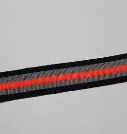 Gebreid lint 30mm navy-grijs-neon oranje gestreept