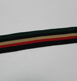 Gebreid lint 30mm groen-navy-beige-rood-navy gestreept