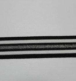 Gebreid lint 30mm zwart-wit-zilver glitter gestreept