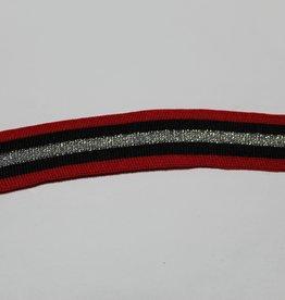 Gebreid lint 30mm rood-zwart-zilver glitter gestreept