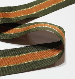 Ribslint 35mm gestreept kaki/goud/roest