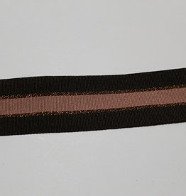 Ribslint 35mm gestreept donkerste bruin/koper/oudroze