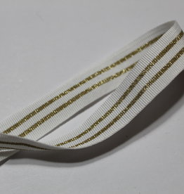 Ribslint 20mm wit met 2 gouden lijnen