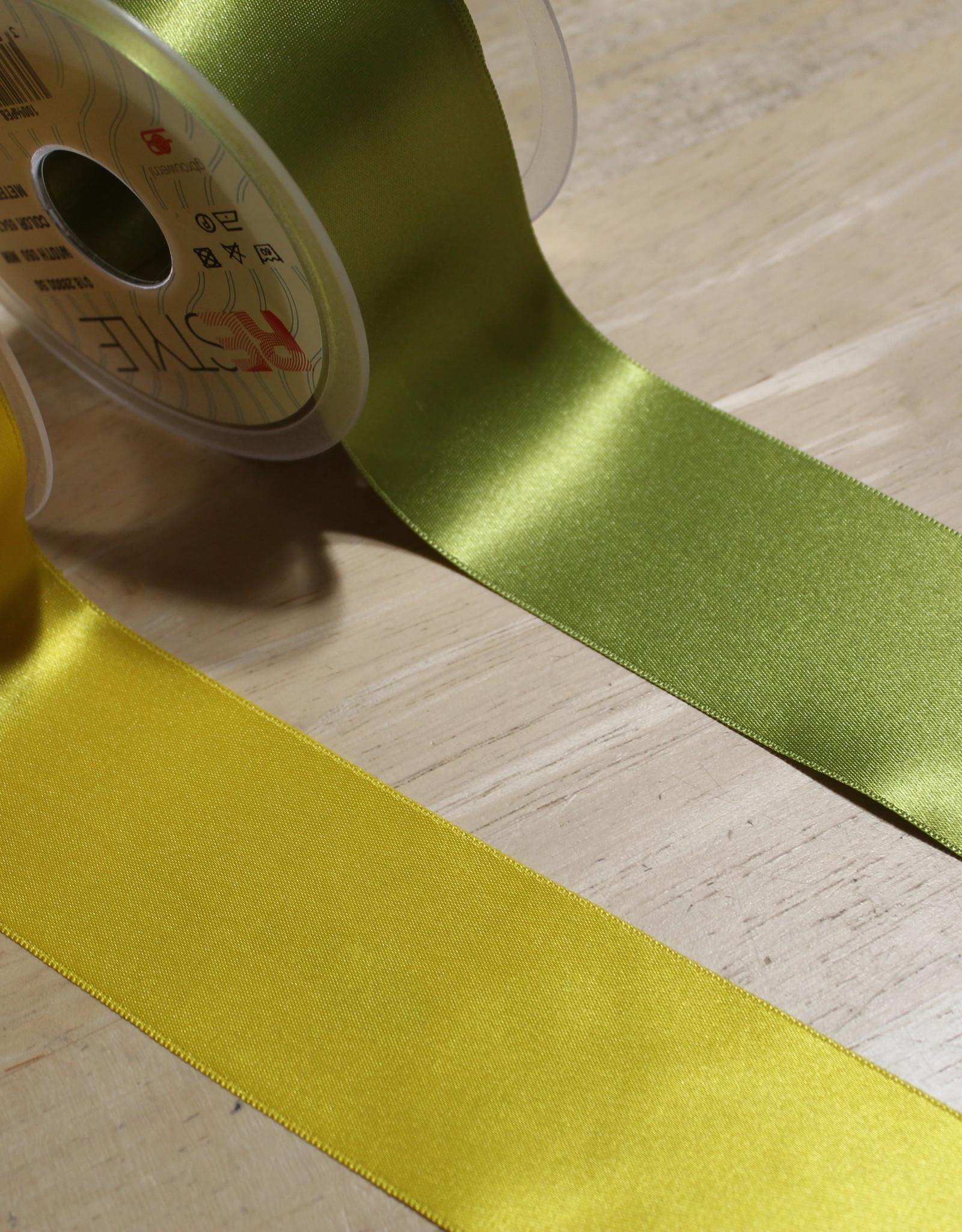 Dubbelzijdig satijnlint 50mm geel col.645