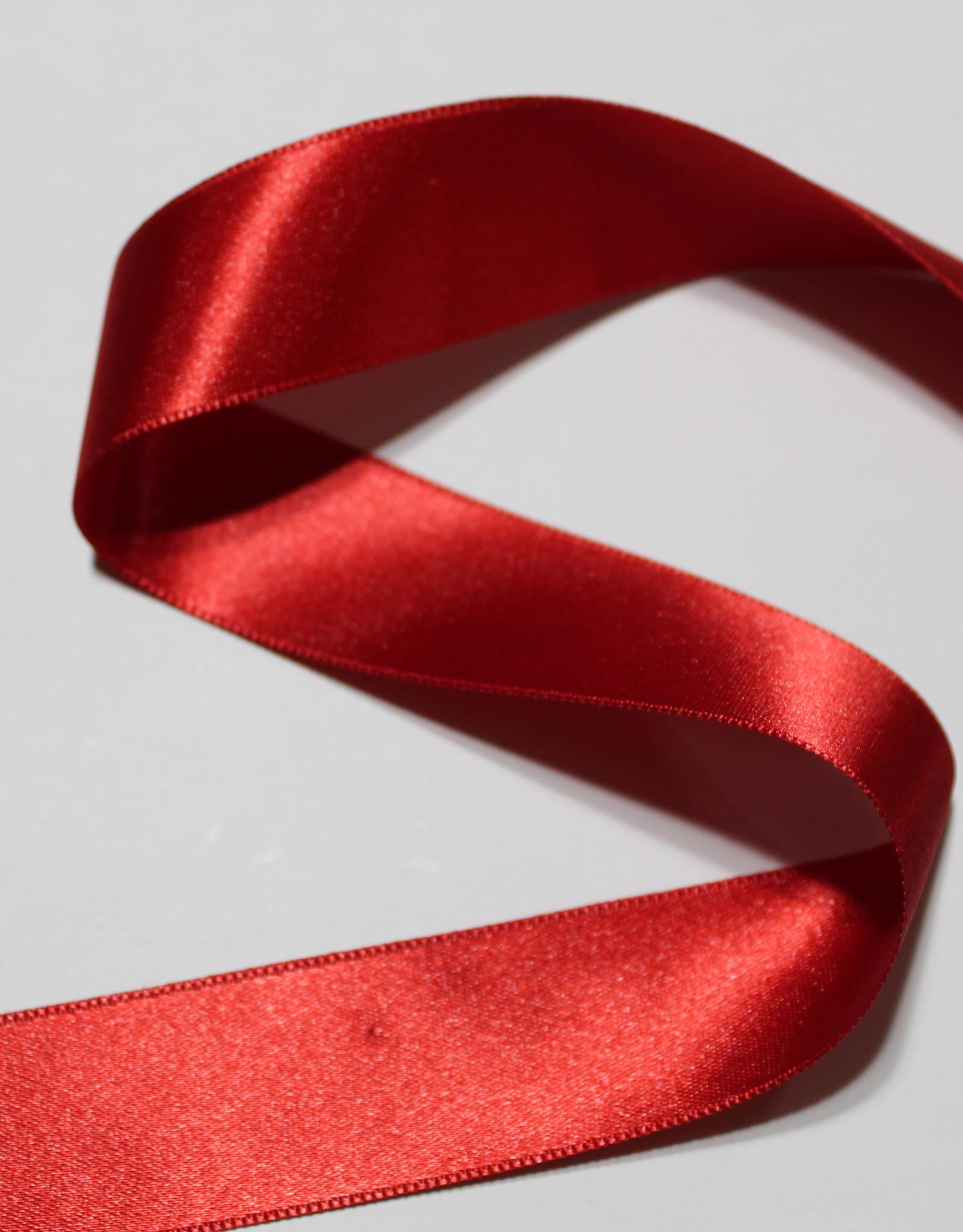 Dubbelzijdig satijnlint 25mm rood col.722