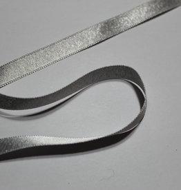 Dubbelzijdig satijnlint 10mm zilver lurex