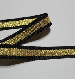 Ripslint zwart met lurex gouden glitter 15mm