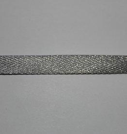 Lint met visgraat motief zilveren lurex 11mm