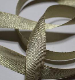 Lint met visgraat motief gouden lurex 20mm