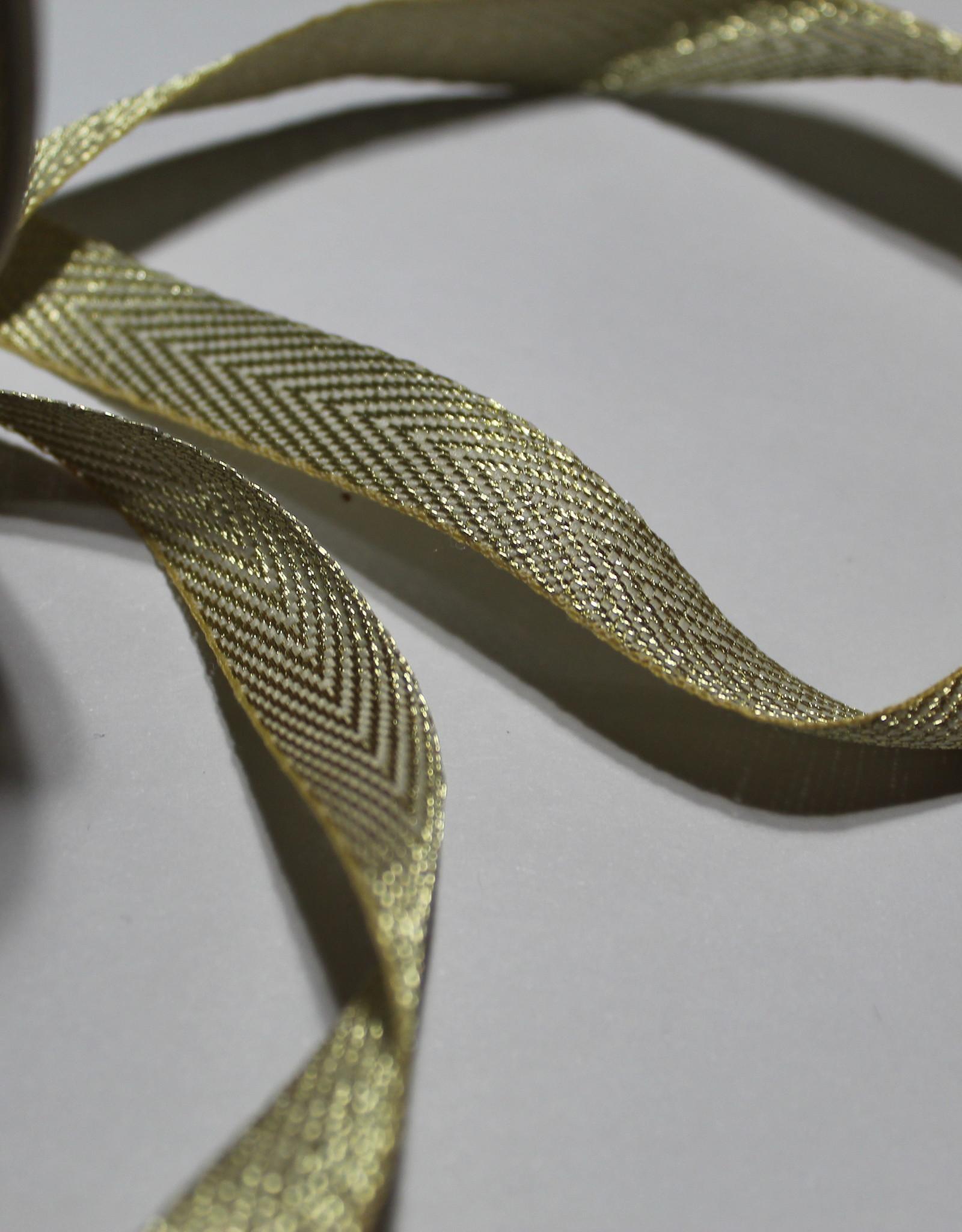Lint met visgraat motief gouden lurex 11mm