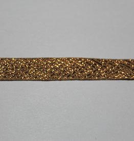 lint met zigzag motief lurex koper bruin 15mm