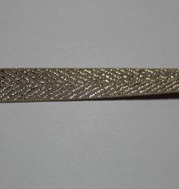 lint met zigzag motief lurex zilver beige 15mm