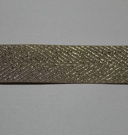lint met zigzag motief lurex zilver beige 25mm